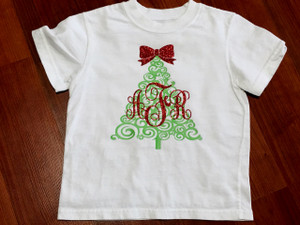 Christmas Tree Swirl Monogram Shirt - Christmas Shirt - Onesie - Tshirt - Long Sleeve - Infant - Youth - Adult - Christmas Shirt
