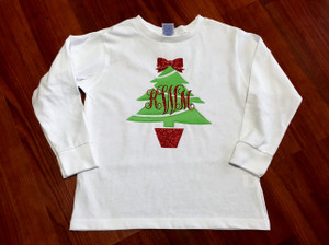 Christmas Tree Monogram Shirt with Bow - Christmas Shirt - Onesie - Tshirt - Long Sleeve - Infant - Youth - Adult - Christmas Shirt