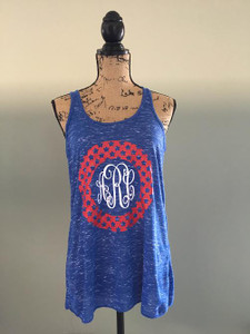 July 4th Monogrammed Racerback Tank - Star Monogram - Patiotic Tank