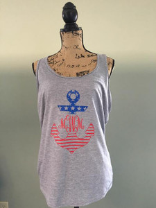 Monogrammed Anchor Patriotic Tank - July 4th Tank - Patiotic Racerback Tank