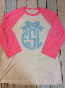 Bow Monogram Shirt - Monogrammed Shirt - Adult Monogram - Personalized Shirts - Monograms - Bows