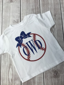 Baseball with Bow - Monogrammed Baseball - Baseball Toddler