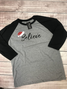 Believe Santa Shirt - Christmas Baseball Tee
