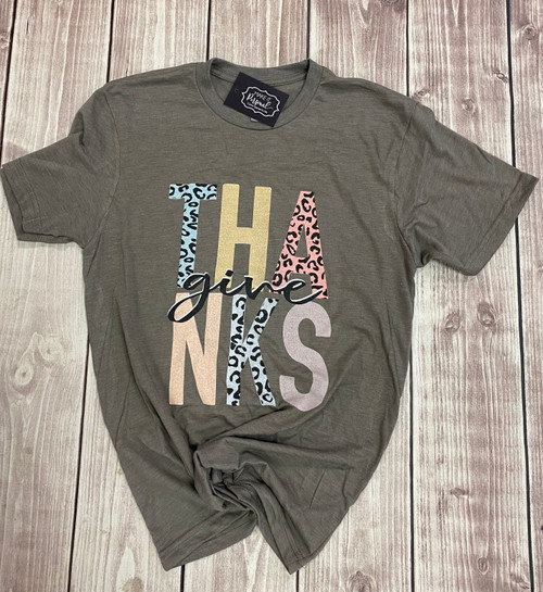 Give Thanks Leopard Tee