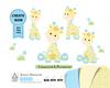 Boy Giraffe clip art, blue and yellow cute little boy giraffe for safari nursery, baby shower, table decoration. Vector file included.