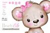 brown pink cute baby girl bear clip art, Girl Teddy Bearbrown pink cute baby girl bear illustration, forest animals, cute little brown pink bear pink ears,bearly cute