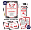 All Star Girl Shoe Baby Shower Invitation card, A sweet Little All Star is on her way, red, black, sports, polka