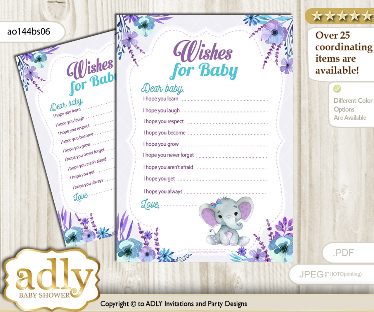 picture relating to Wishes for Baby Printable identify Elephant Female Wants for a Little one, Effectively Wants for a Very little Lady Printable Card, floral, Pink Teal n
