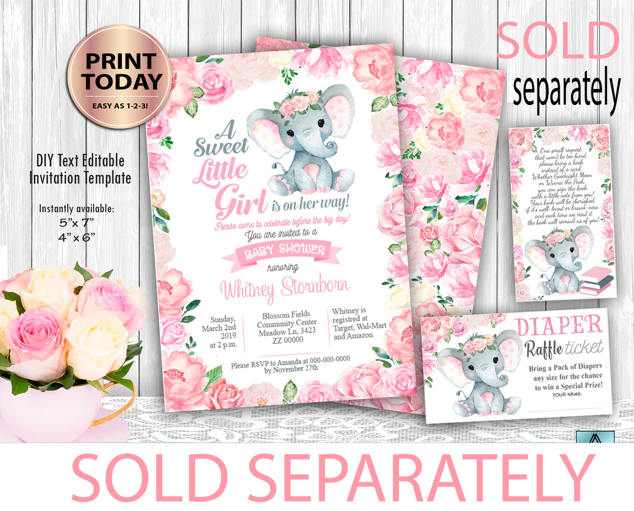 Flowral Elephant Baby Girl Shower Invitation Template Floral Digital Watercolor Flowers Frame Editable Instant Download