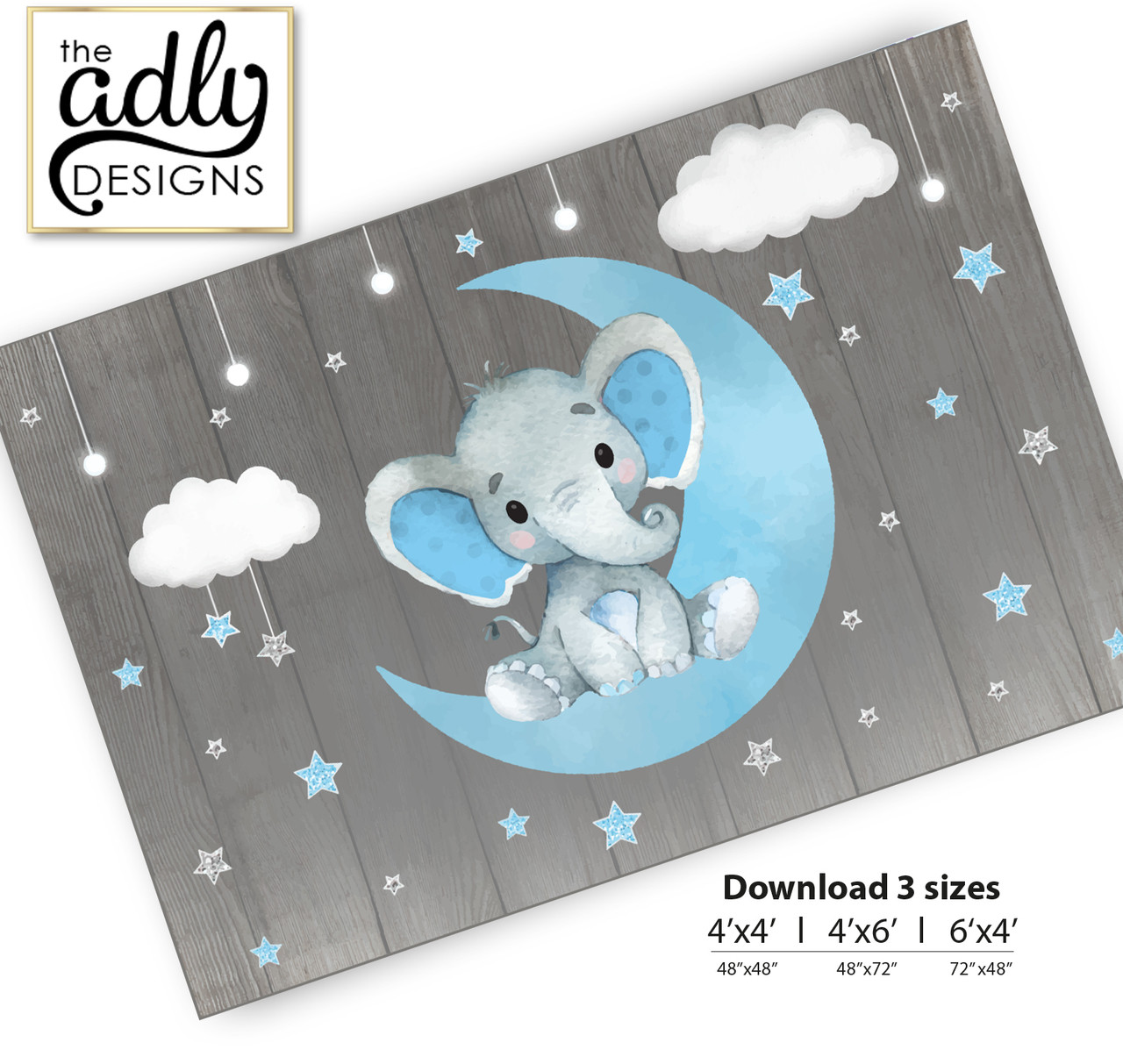 Moon Elephant Backdrop For Baby Shower Candy Table Birthday Party