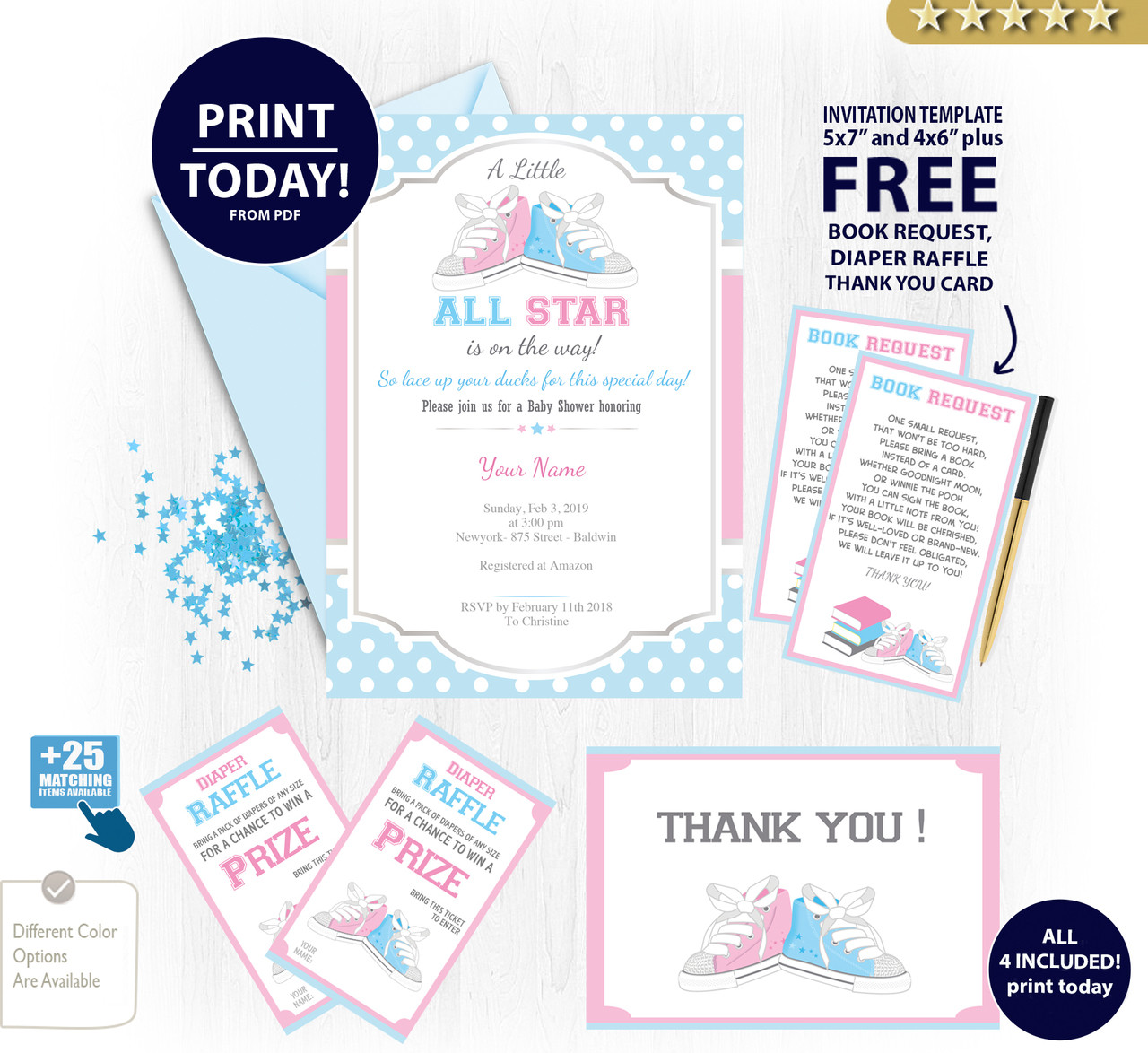 All Star Neutral Shoe Baby Shower Invitation Card Pink Blue Sports