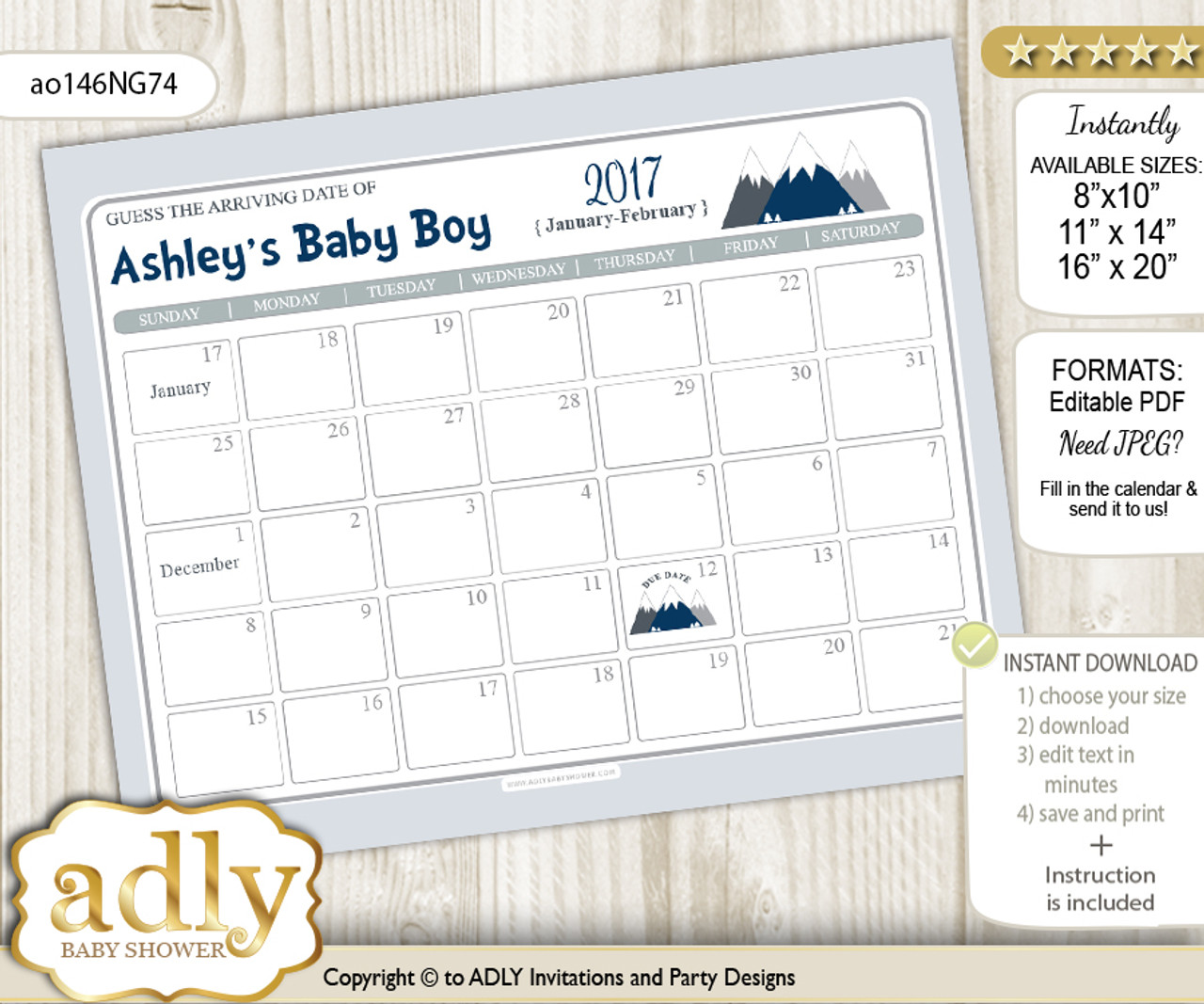 S121 Guess Baby/'s Due Date Calendar Baby Shower Sign Editable Template Instant Download Boy Over the Moon Baby Shower Game