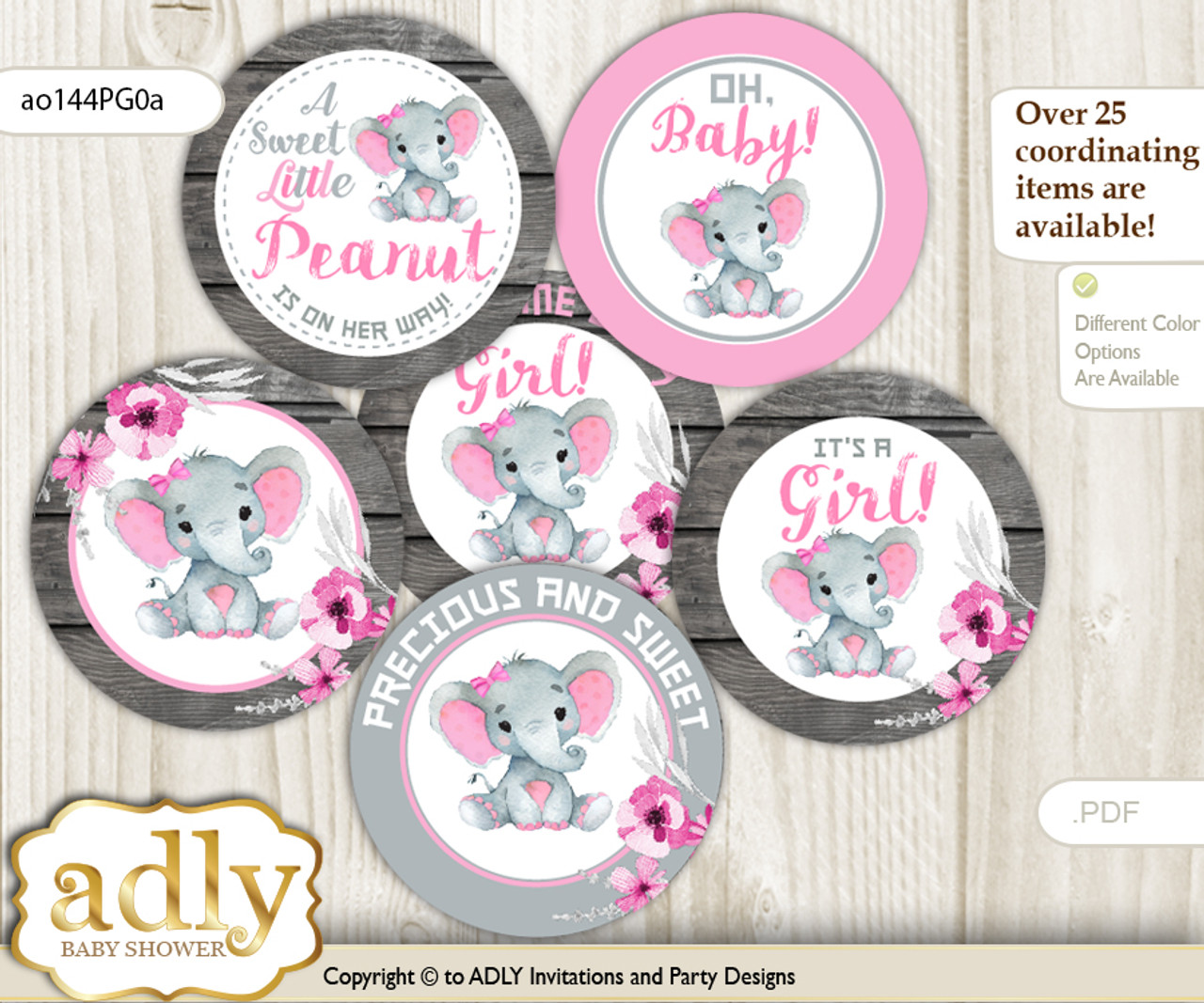 INSTANT DOWNLOAD baby girl shower cupcake toppers Ready to Pop printable 2 circle favor tags pink cute baby elephant with hearts