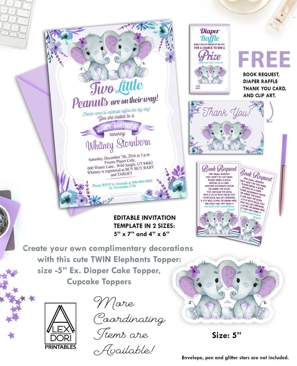 Twin Elephants Purple Turquoise Baby Shower Invitation Printable