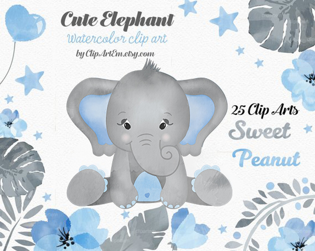 Watercolor Elephant clipart in blue and gray 25 different ...