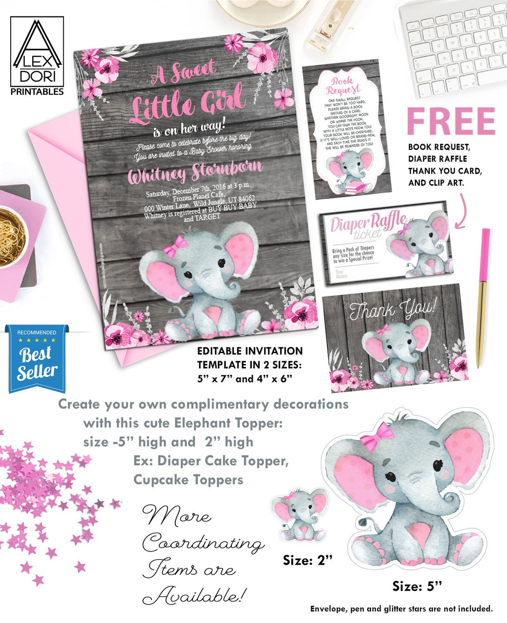 Baby Shower Invitation Pink Girl Elephant With Flowers Rustic Invitation On Wooden Background