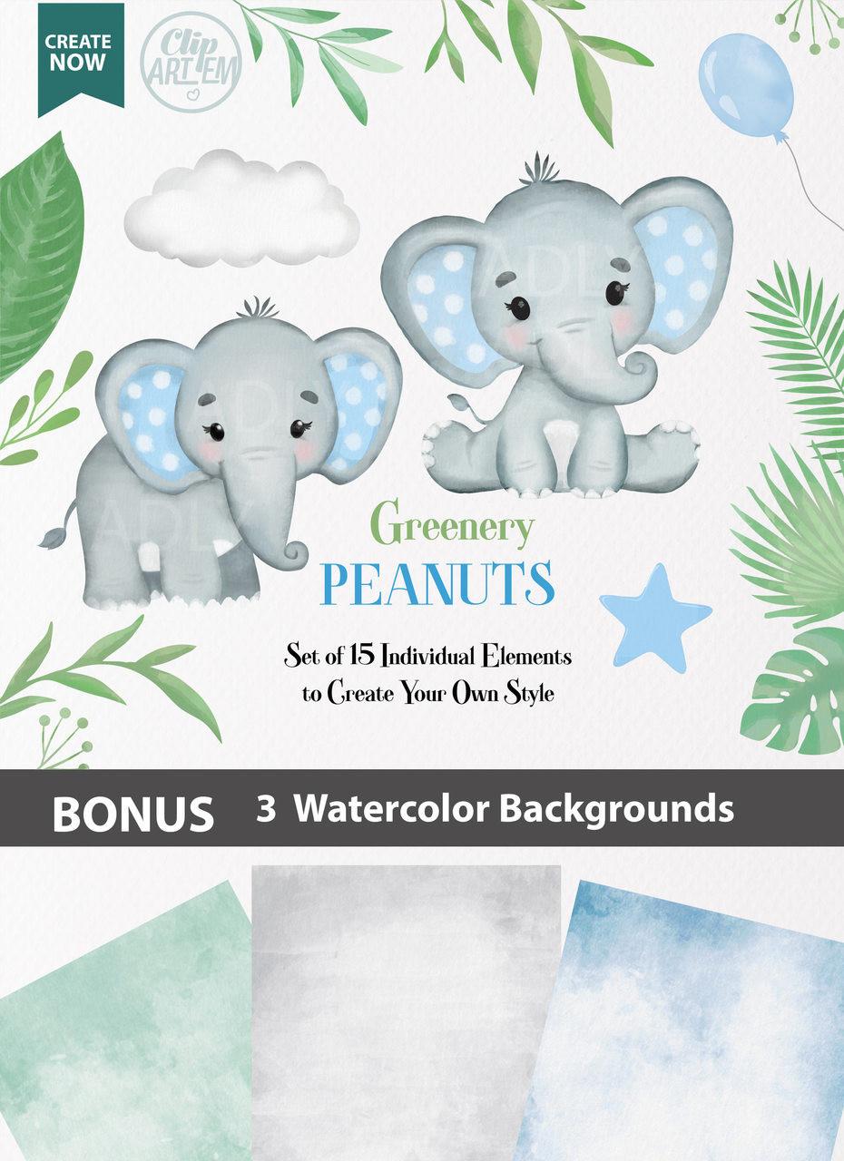 Blue Boy Baby Elephants collection Clipart, transparent ...