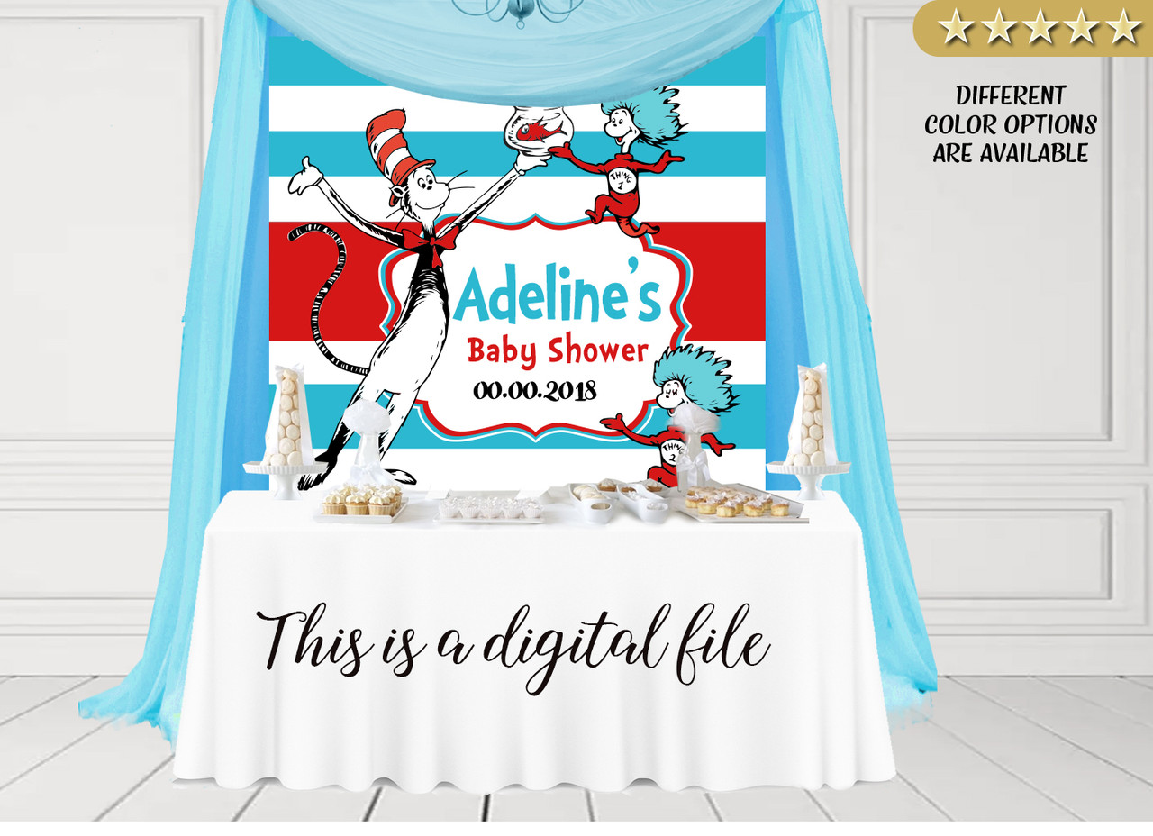 Dr. Seuss Digital Backdrop for birthday, baby shower, any event and any size - ADLY Invitations and Digital Party Designs