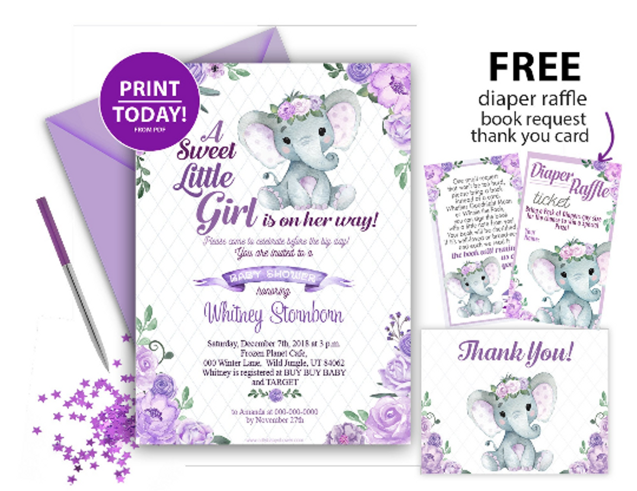 Purple Floral Elephant Invitation For Baby Shower Editable