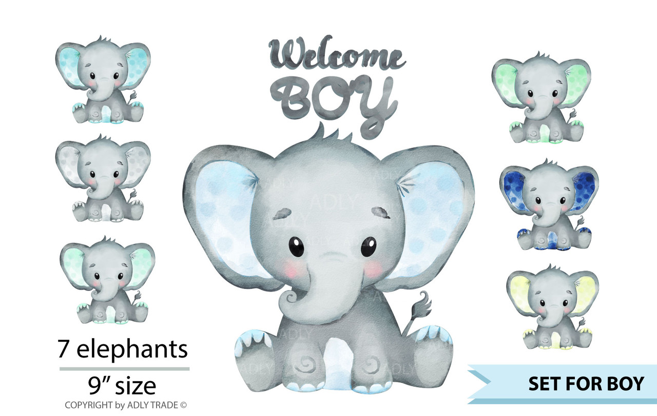 Cute Elephant Boy Watercolor clip art, baby blue elephant ...