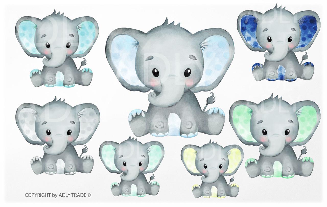 Cute Elephant Boy Watercolor clip art, baby blue elephant ...