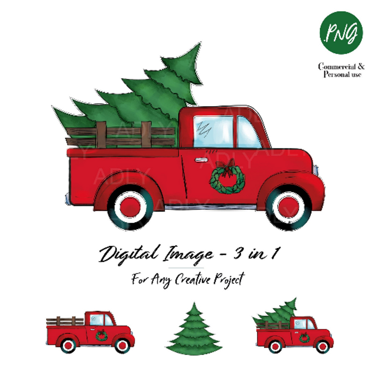 Christmas Sublimation Red Truck With Christmas Tree Wreath Vintage Truck Watercolor Doodle Art Vintage Christmas Shirts Decor Transfer Adly Invitations And Digital Party Designs