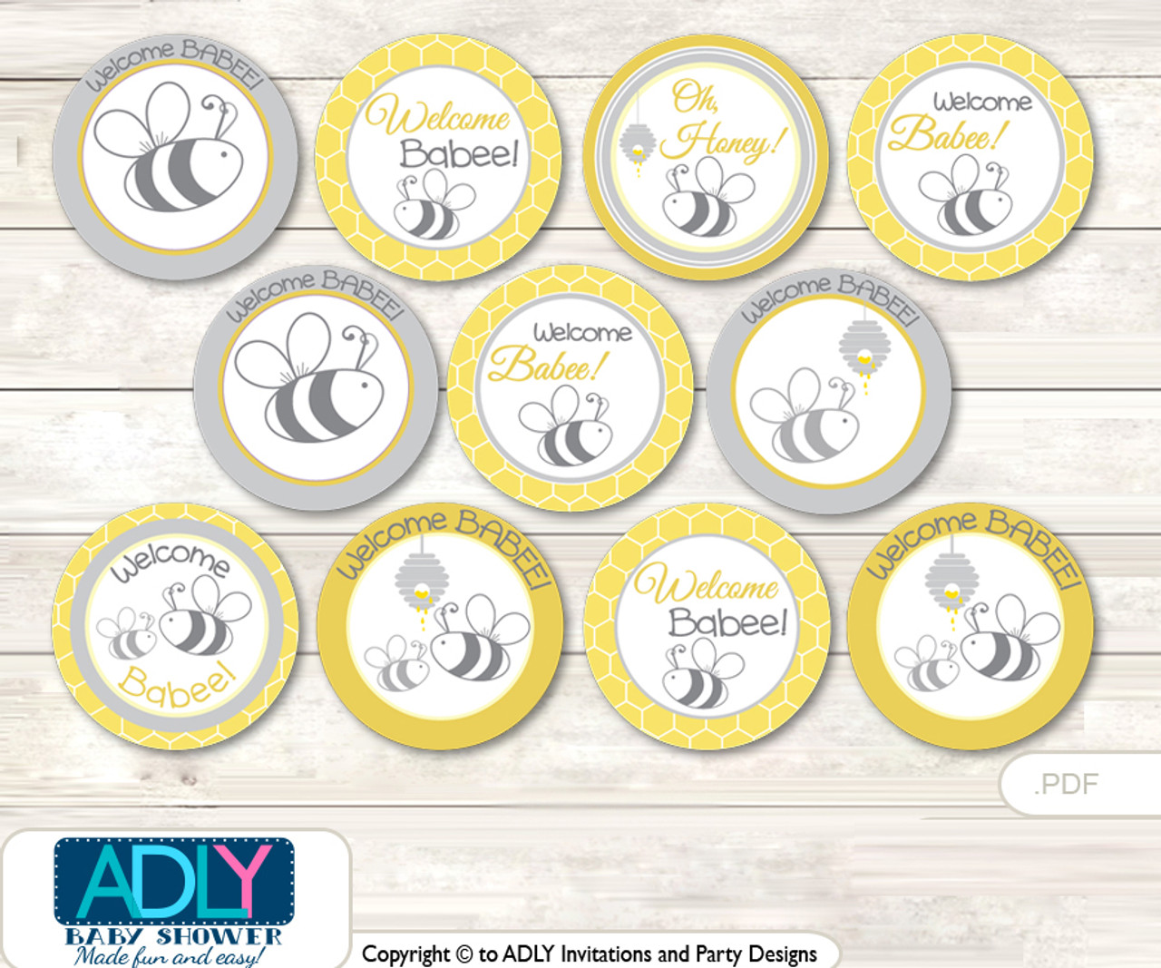 Baby Shower Babee Bumble Cupcake Toppers Printable File For Little Babee And Mommy To Be Favor Tags Circle Toppers Neutral Bee Adly Invitations And Digital Party Designs