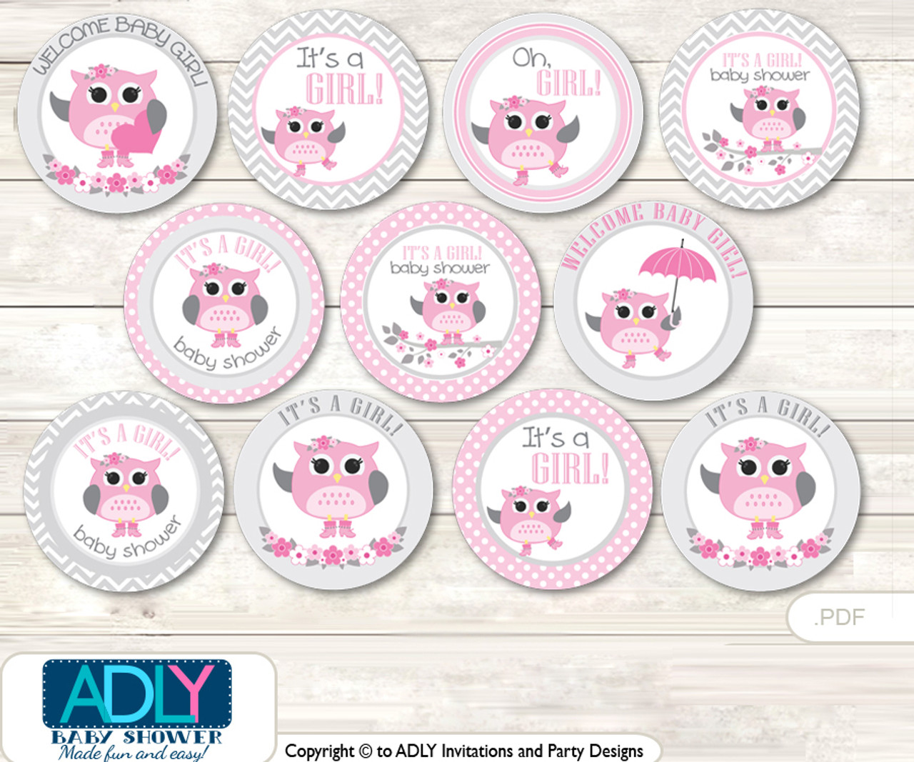 536d9261e65 Baby Shower Spring Owl Cupcake Toppers Printable File for Little Spring and  Mommy-to-be