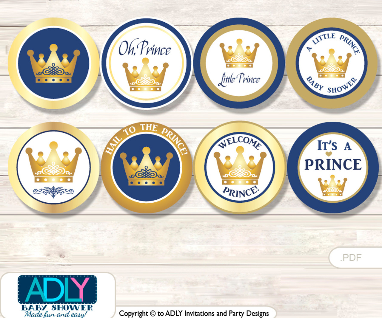 picture regarding Printable Cupcakes Toppers identify Little one Shower Prince Royal Cupcake Toppers Printable Record for Minor Prince and Mommy-in direction of-be, prefer tags, circle toppers, Blue, Gold
