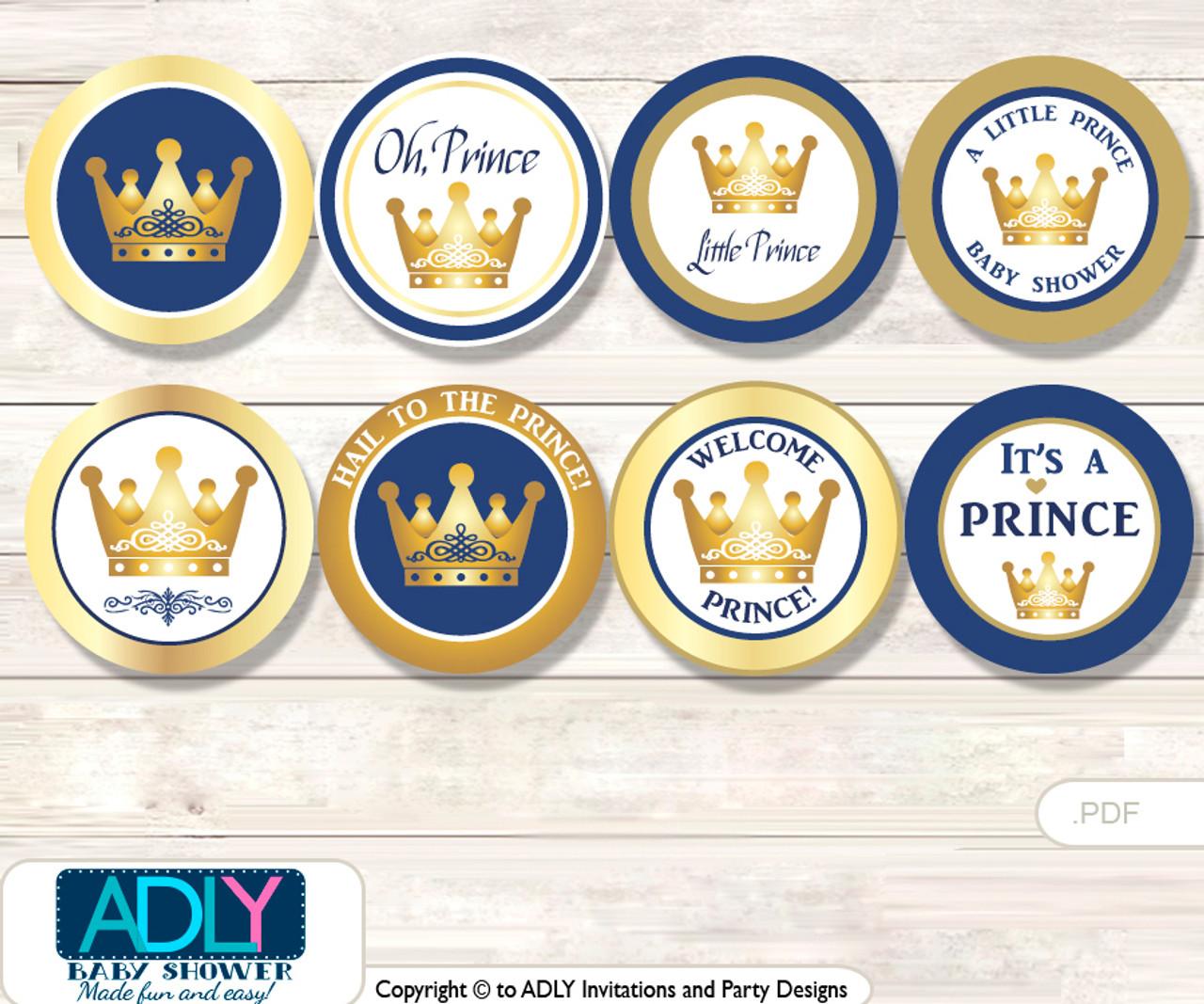 Baby Shower Prince Royal Cupcake Toppers Printable File ...