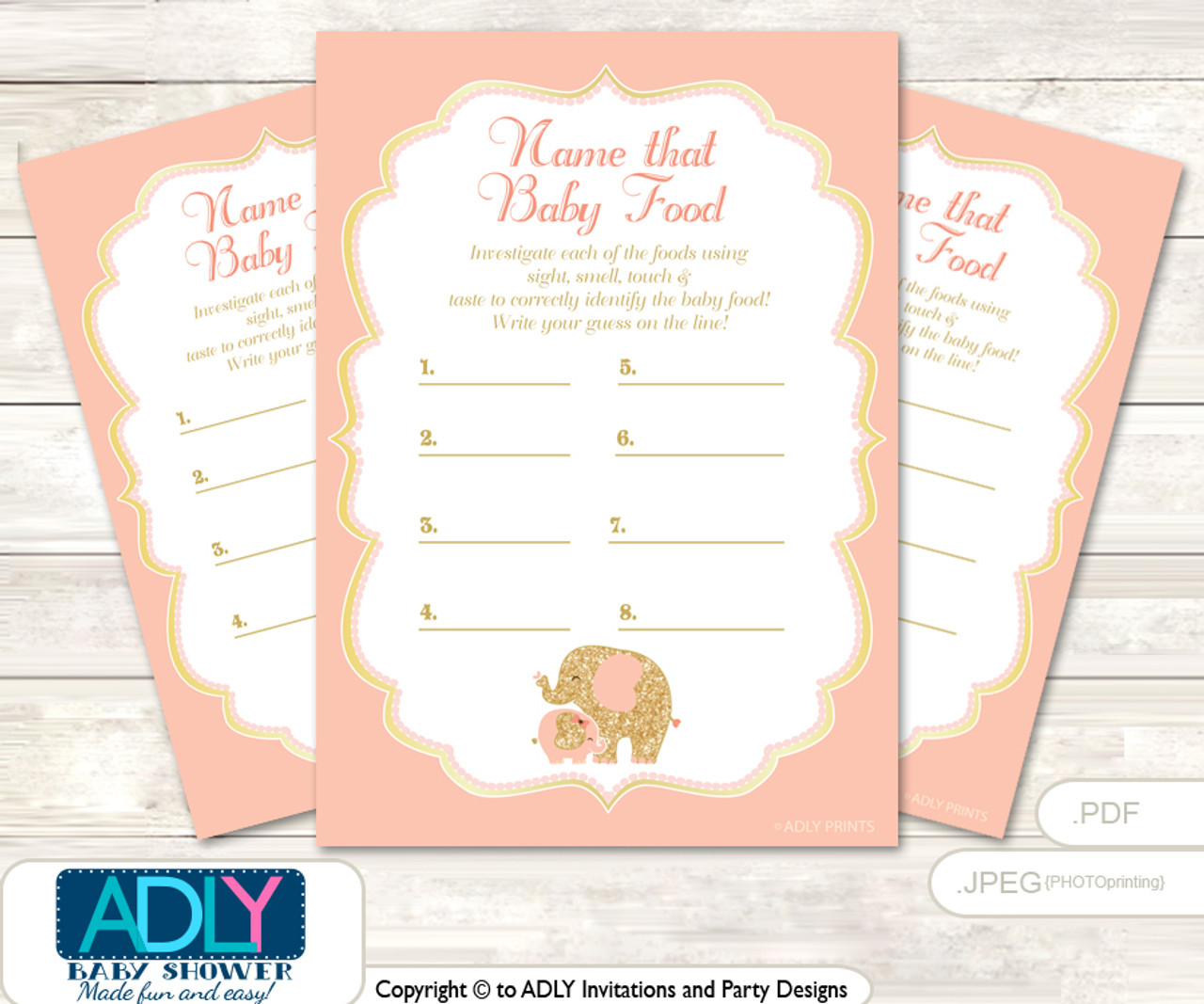 image about Baby Food Game Printable named Peach Elephant Wager Youngster Food stuff Recreation or Track record That Child Food items Activity for a Little one Shower, Gold Coral
