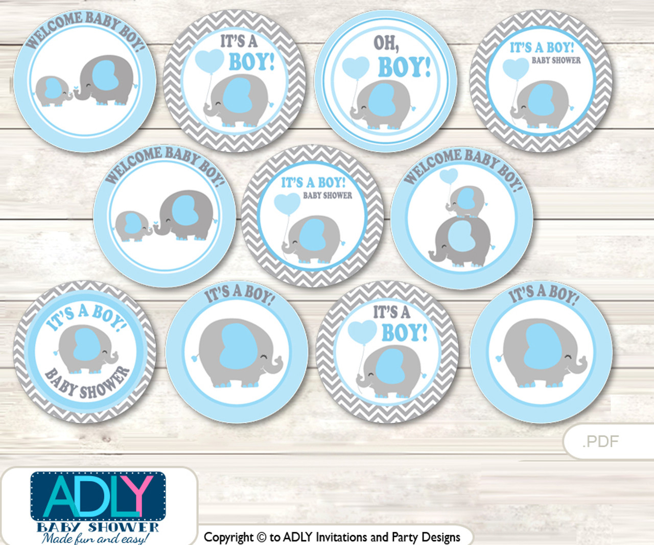 Baby Shower Grey Blue Elephant Cupcake Toppers Printable File For