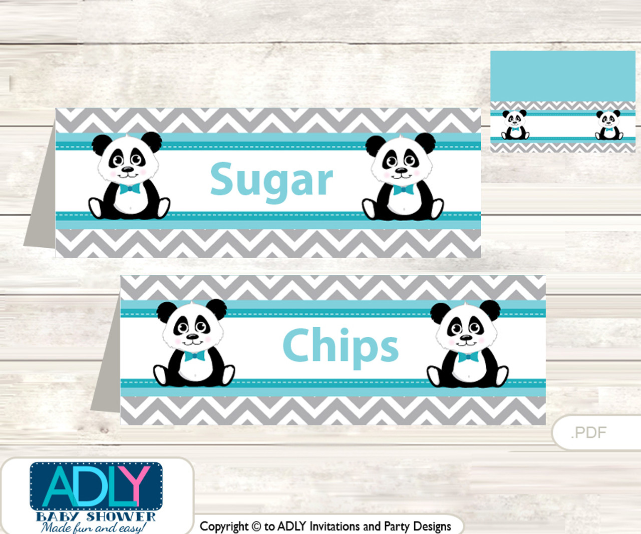 Printable Boy Panda Buffet Tags Or Food Tent Labels For A Baby