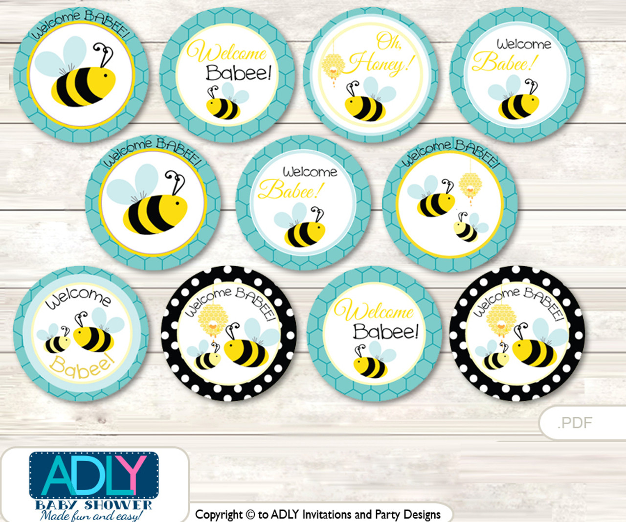 Baby Shower Neutral Bee Cupcake Toppers Printable File For Little Neutral And Mommy To Be Favor Tags Circle Toppers Turquoise Black Adly Invitations And Digital Party Designs