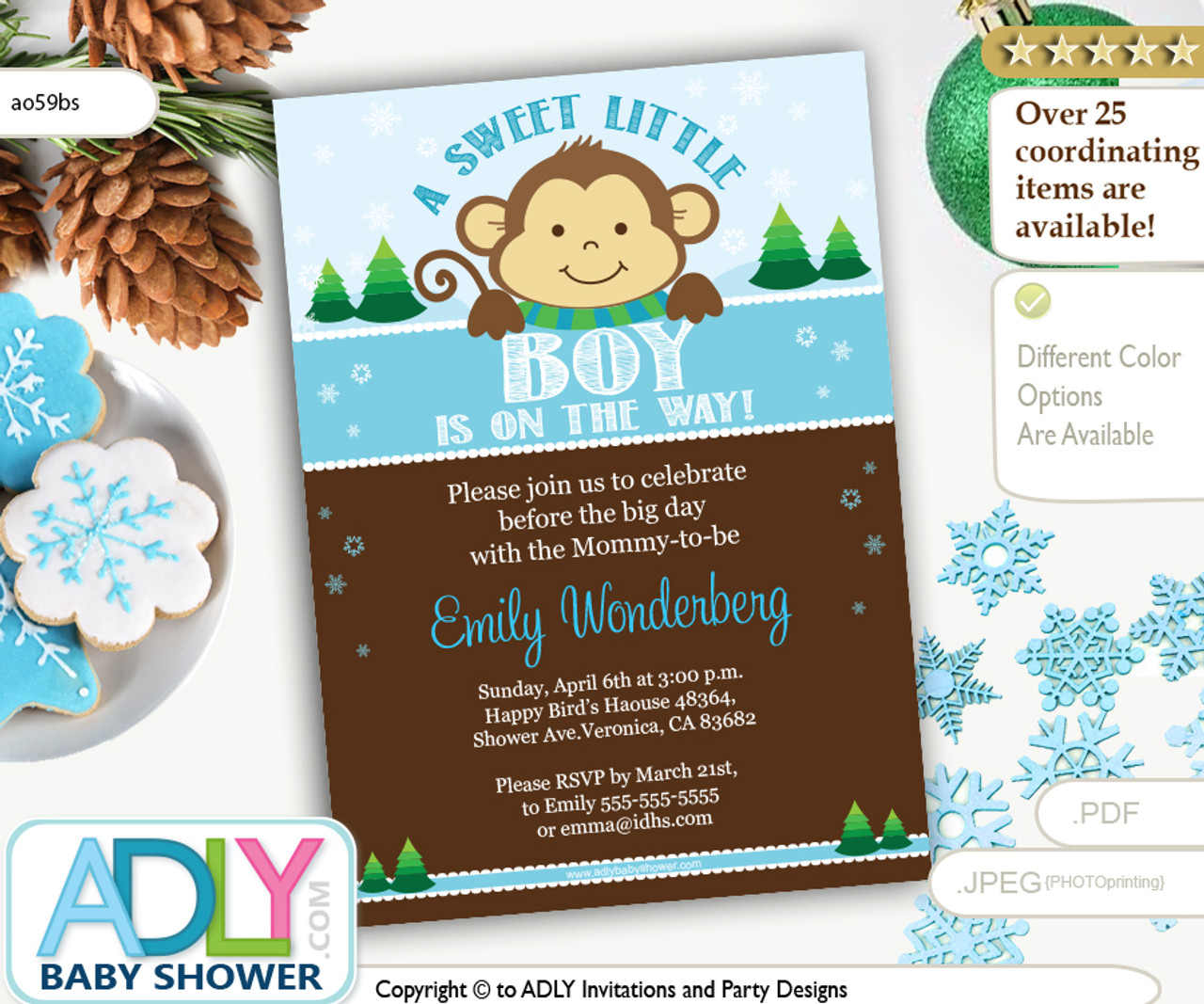 Winter Monkey Boy Baby Shower Invitation Printable DIY With Pine Trees And Snowflakes