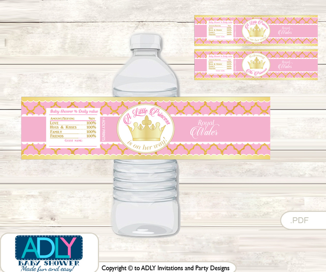 Pink Princess Water Bottle Wrappers Labels For A Princess Baby