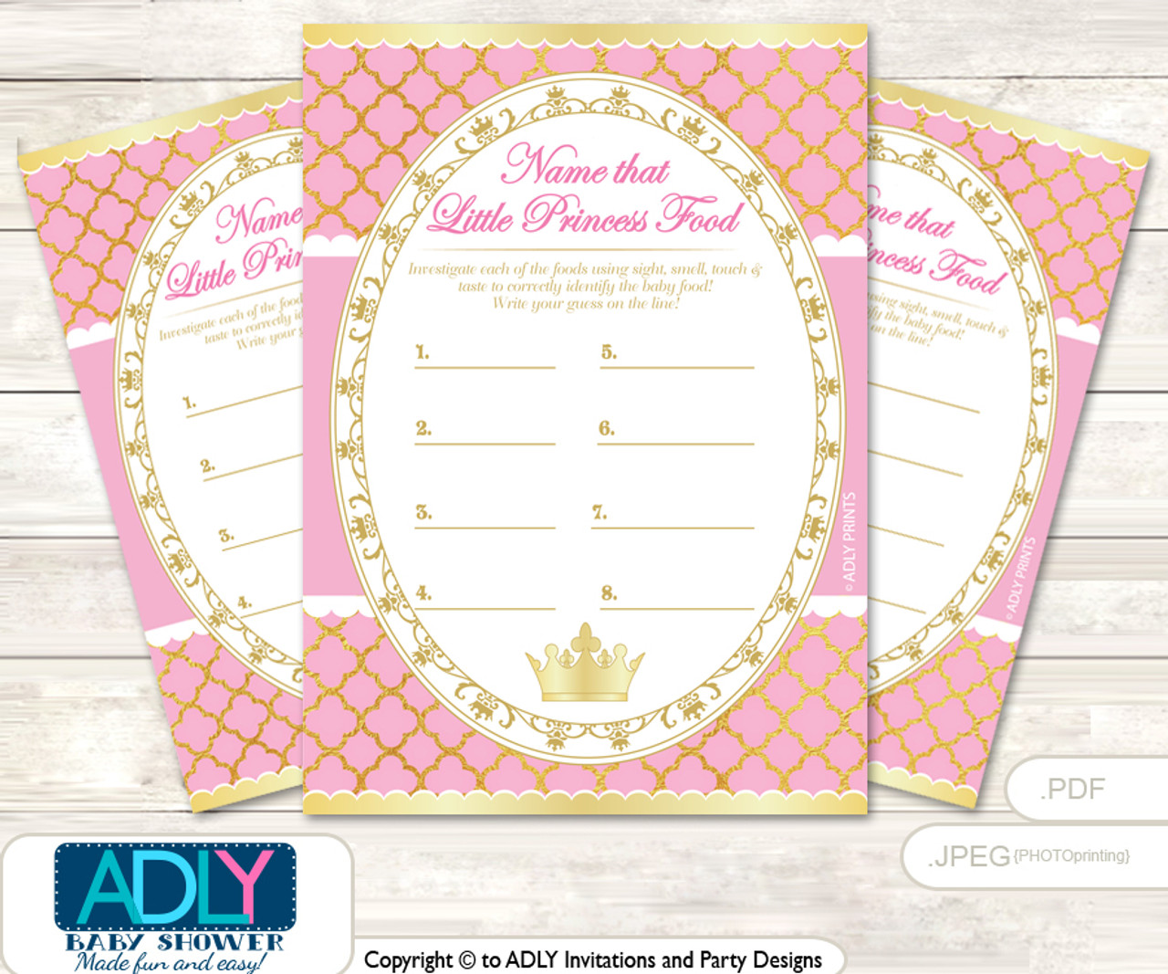picture about Guess the Baby Food Game Printable titled Crimson Princess Bet Kid Food stuff Sport or Track record That Kid Foods Activity for a Kid Shower, Crown Royal