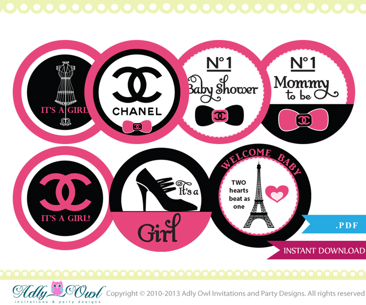 photograph relating to Chanel Printable named Coco Chanel Cupcake Toppers for a Boy or girl Shower Cly Youngster Shower Printable Do-it-yourself for female, higher design and style - Simply electronic report - ao67