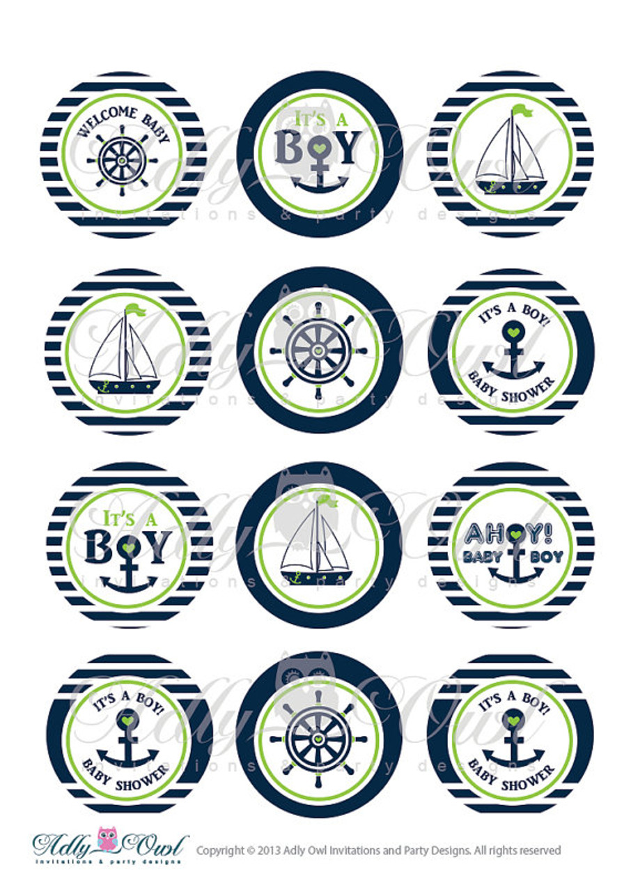 image regarding Mickey Anchor Printable identify Nautical Boy or girl Shower Cupcake Toppers,Choose Tags, Ahoy - Anchor - Its a Boy Printable Do it yourself Eco-friendly Army - Simply just electronic history - on your own print SKU41