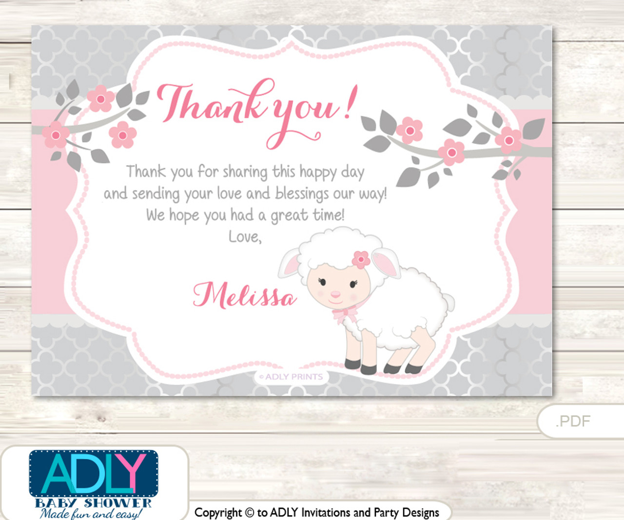 photo regarding Baby Shower Card Printable known as Red Lamb Thank yourself Printable Card with Popularity Personalization for Kid Shower or Birthday Celebration