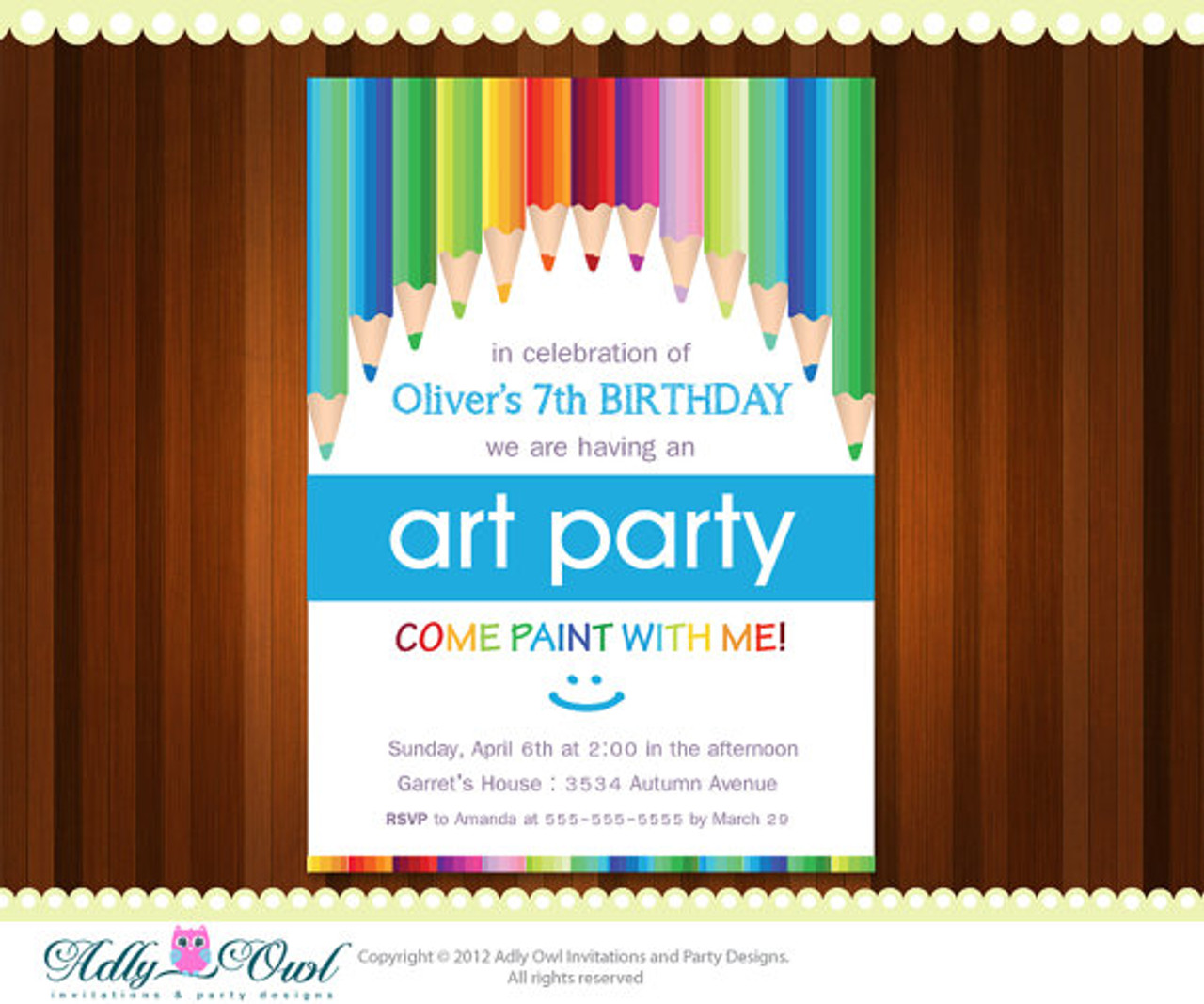 Rainbow Art And Craft Personalized Birthday Party Invitation Card For Boy Girl