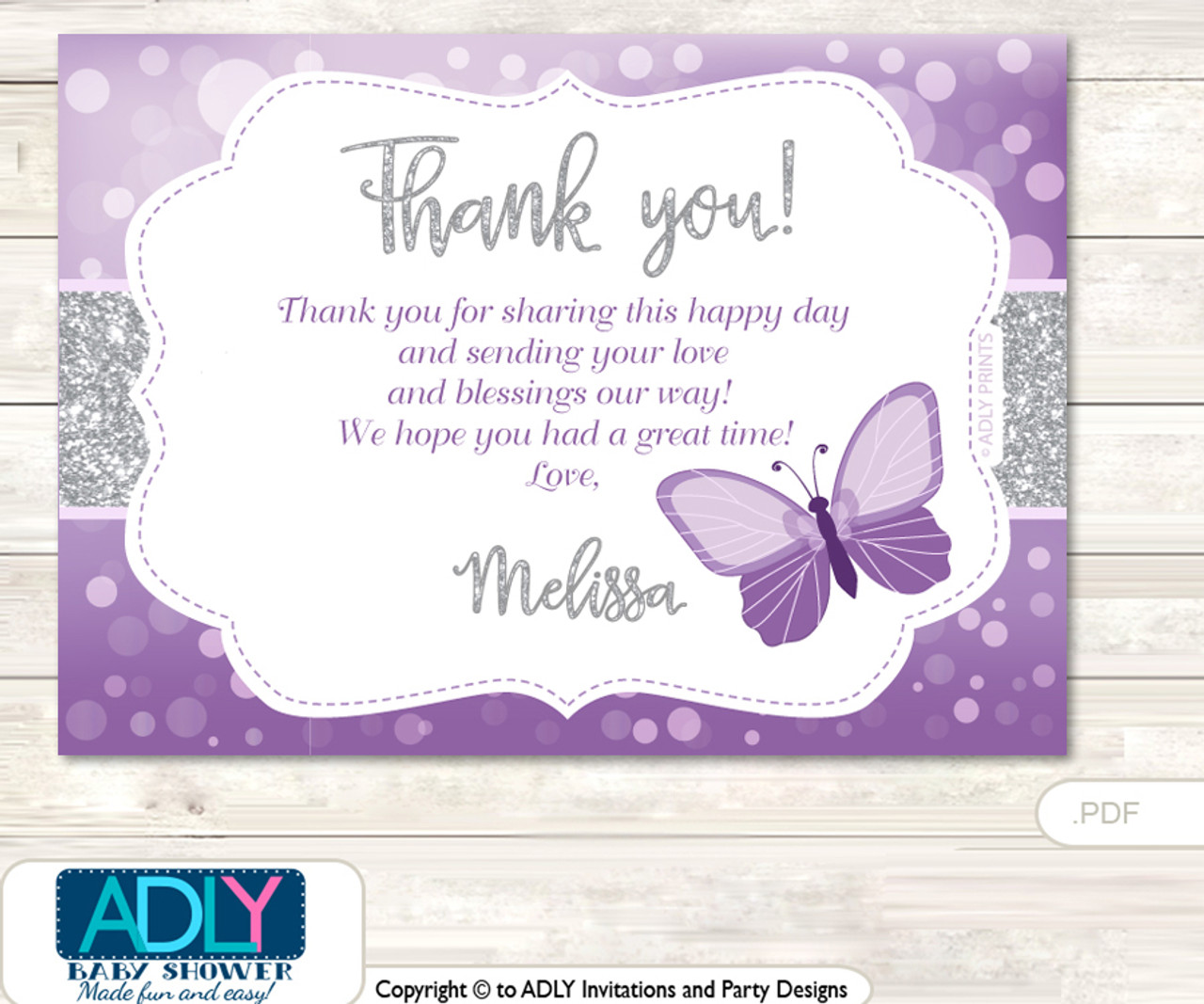 Purple Butterfly Thank You Printable Card With Name Personalization For Baby Shower Or Birthday Party