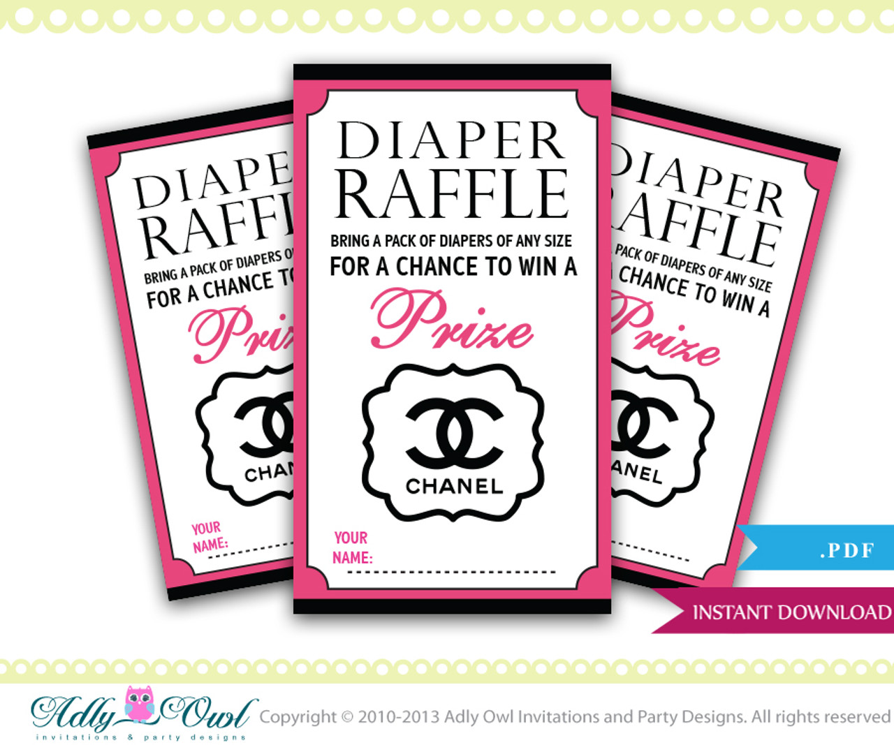 photograph regarding Chanel Printable named Chanel Diaper Raffle for Boy or girl Shower Printable tickets for a significant style kid shower, sophisticated, cly, amazing - Merely electronic history - ao67