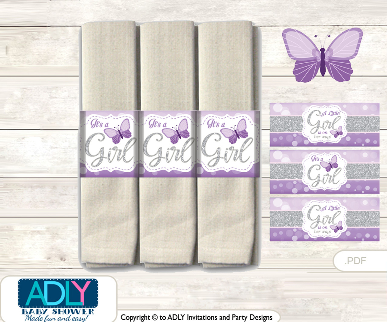 Printable Purple Butterfly Napkin Ring Label Or Napkin Holders For Baby Shower Gray Bokeh Adly Invitations And Digital Party Designs