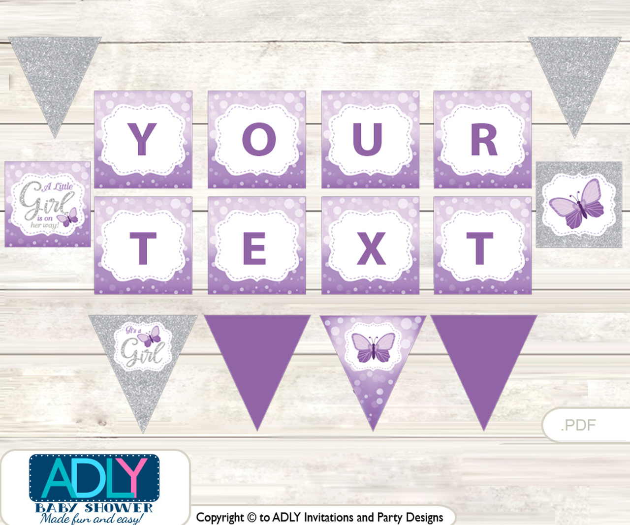personalized purple butterfly printable banner for baby shower gray