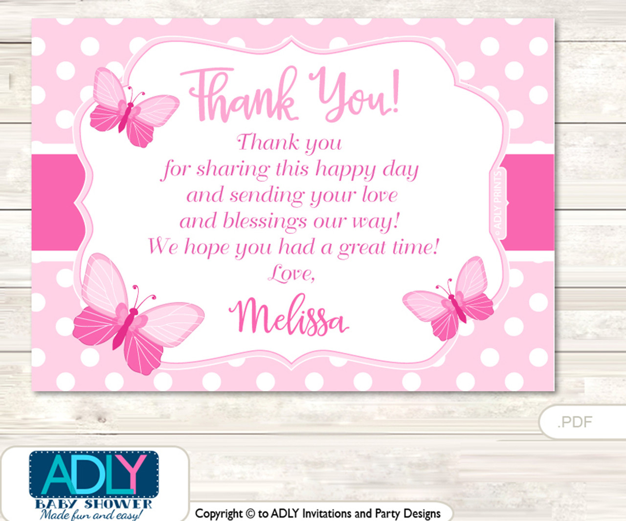 pink butterfly thank you printable card with name