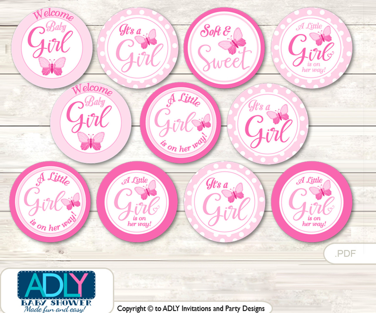baby shower pink butterfly cupcake toppers printable file for little rh adlybabyshower com