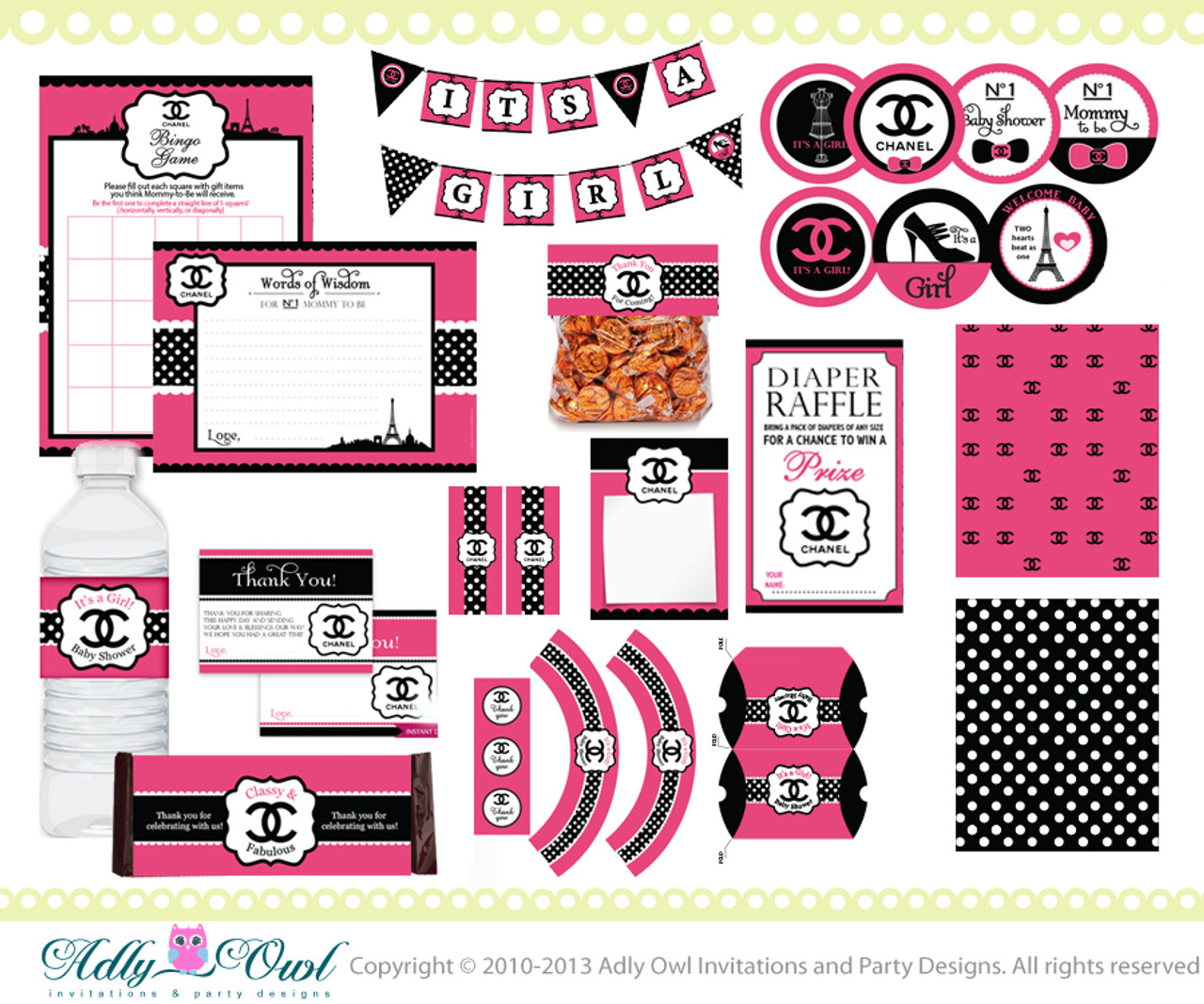 photograph about Chanel Printable identify Chanel Lady Kid Shower Printable Package Do it yourself, substantial style boy or girl shower, tasteful mommy toward be, banner,drinking water label,tags- Just electronic report - ao67