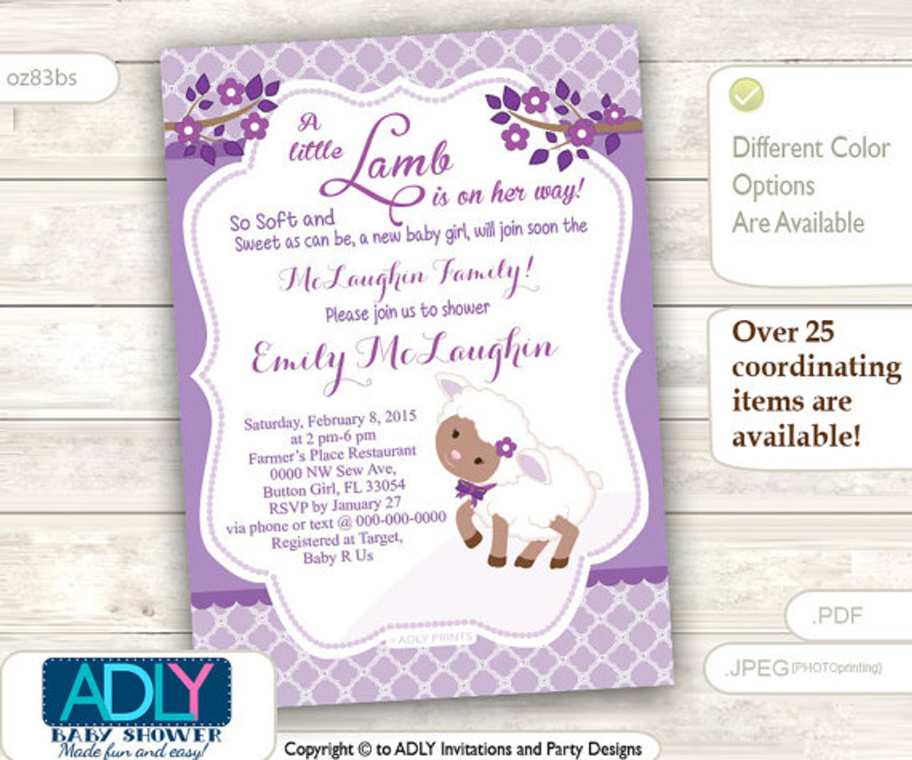 photograph about Printable Girl Baby Shower Invitations named Crimson Very little Lamb African American Lady Boy or girl Shower Invitation for a Fresh Kid Woman, Printable Sheep/Lamb Card, brown,lavender