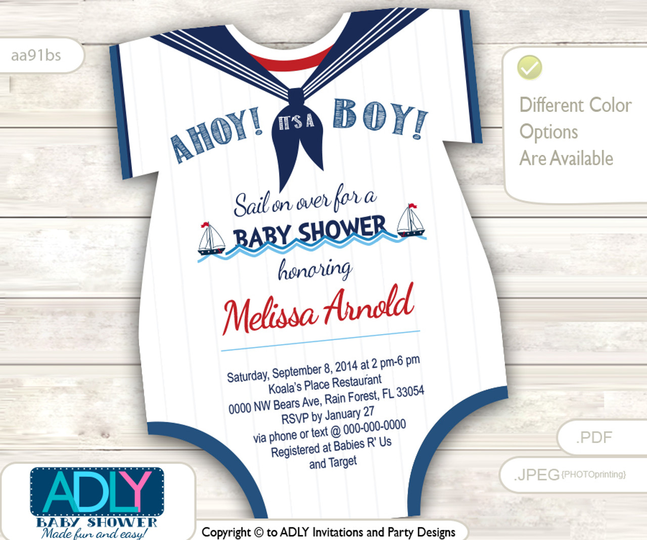 photo relating to Printable Onesie Baby Shower Invitations referred to as Nautical Onesies Little one Shower Invitation for a Boy or girl Boy inside Army Blue, Purple, White shades. Small Sailor shower invitation,sail upon in excess of